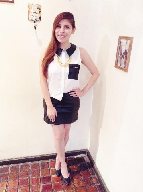faux-leather-mini-skirt-black-and-white-shirt