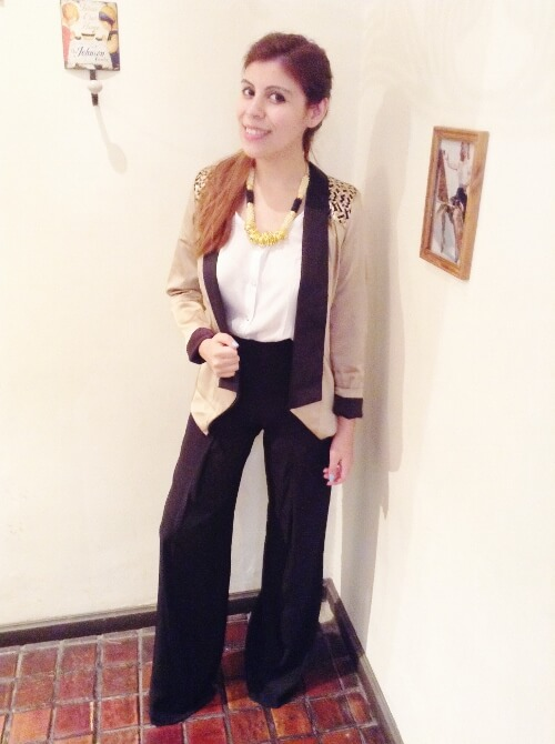 golden-tuxedo-blazer-palazzo-pants