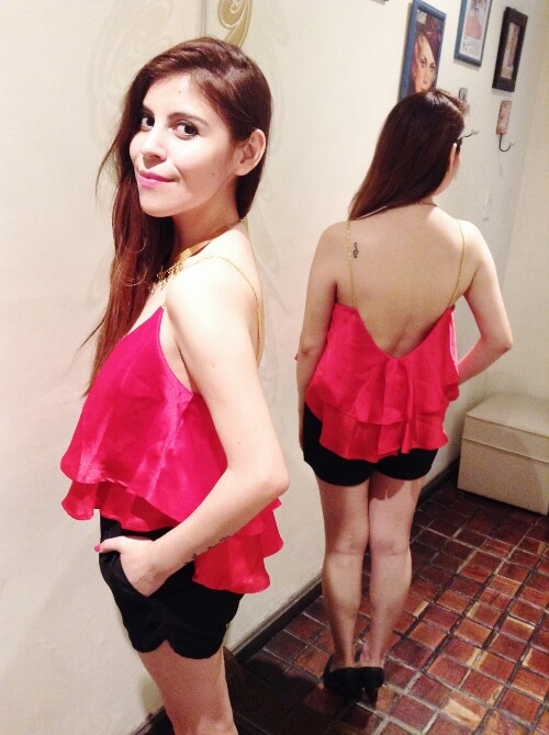 red-top-backless-sexy-black-shorts-summer2015