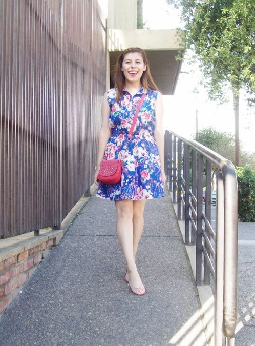 blue-floral-dress-pink-ballerinas-streetstyle-coral-girly-feminine-ladylike02