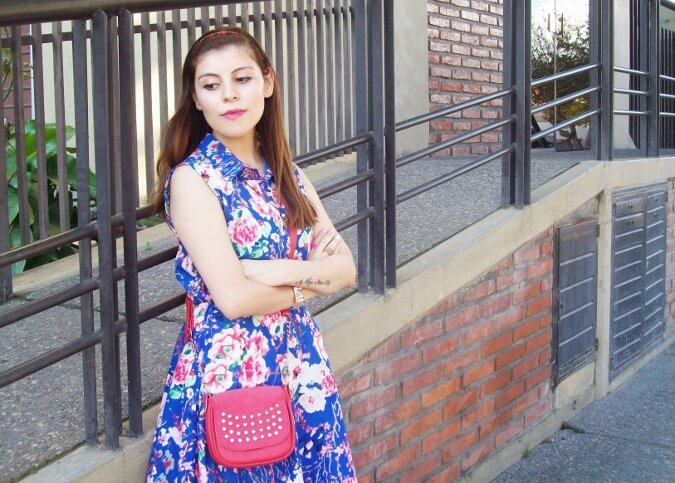 blue-floral-dress-pink-ballerinas-streetstyle-coral-girly-feminine-ladylike03