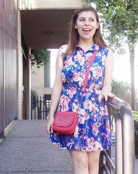 blue-floral-dress-pink-ballerinas-streetstyle-coral-girly-feminine-ladylike09