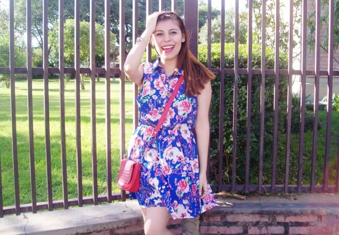 blue-floral-dress-pink-ballerinas-streetstyle-coral-girly-feminine-ladylike14