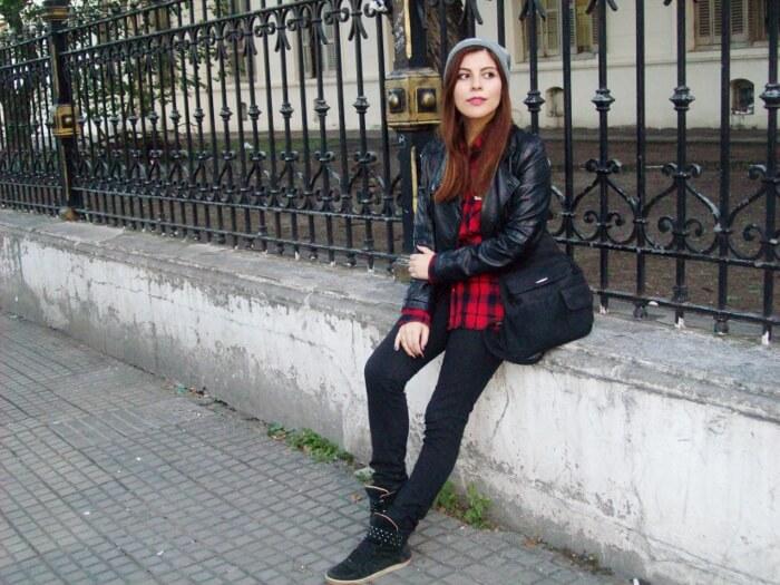 tartan-shirt-faux-leather-biker-beanie-fall2015-streetstyle02