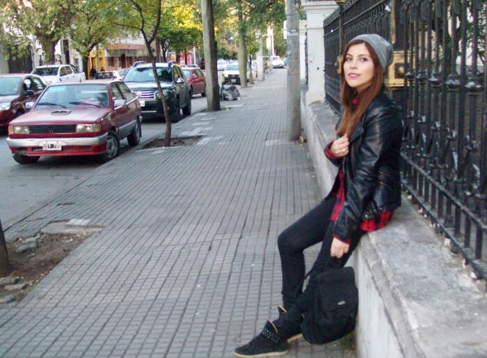tartan-shirt-faux-leather-biker-beanie-fall2015-streetstyle05