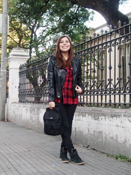 tartan-shirt-faux-leather-biker-beanie-fall2015-streetstyle07