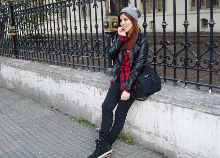 tartan-shirt-faux-leather-biker-beanie-fall2015-streetstyle09