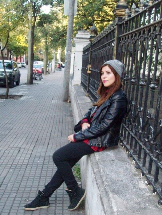 tartan-shirt-faux-leather-biker-beanie-fall2015-streetstyle11