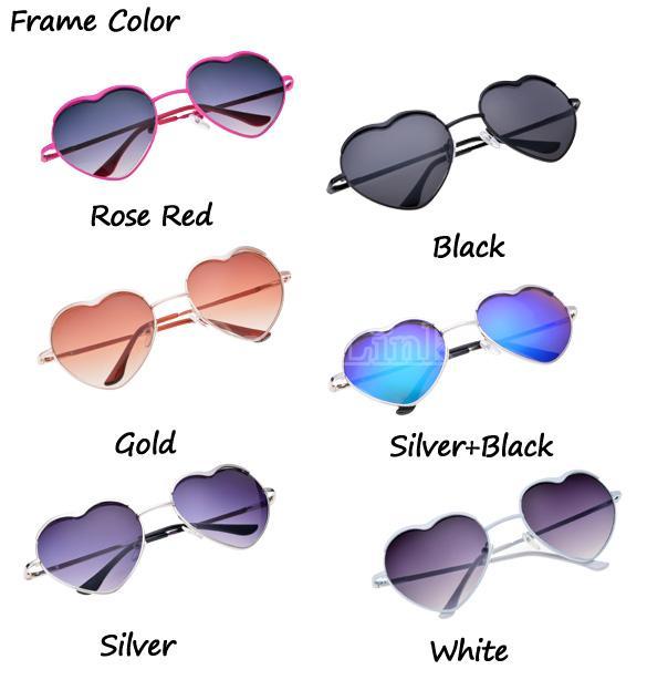 Hot Fashion Cool Unisex Heart Shaped Frame Sunglasses 6 Colors