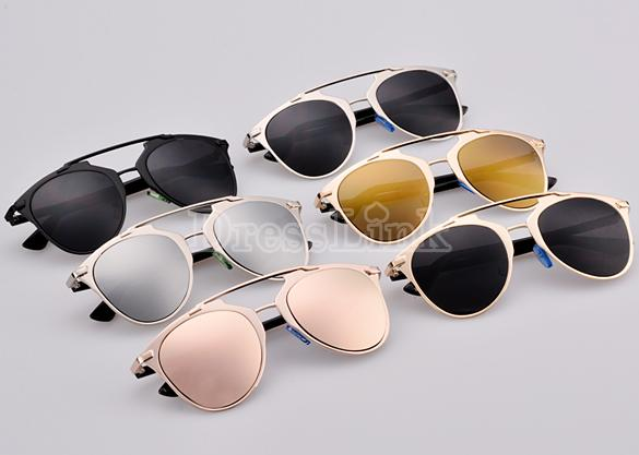 Hot Fashion Lady Women's Retro Dual Horizontal Beam Full Frame Sunglasses