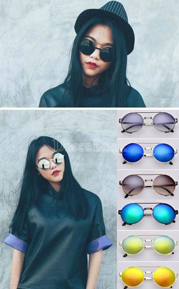 Hot Fashion Lady Women's Retro Round Glass Full Frame Sunglasses