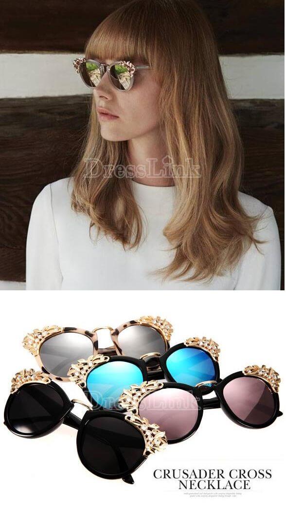 Women's Eye Glasses Floral Decoration Design Eyewear Fashion Retro European Sunglasses