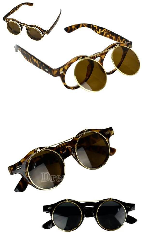 Women's Mens Retro Style Flip Up Round Steampunk Sunglasses