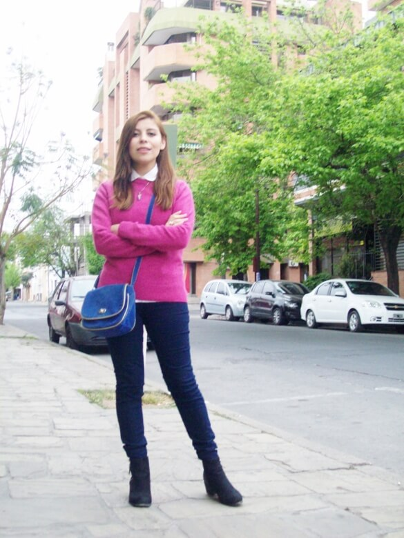 fuchsia-sweater-blue-jeans-color-bocking-streetstyle-ankle-boots08