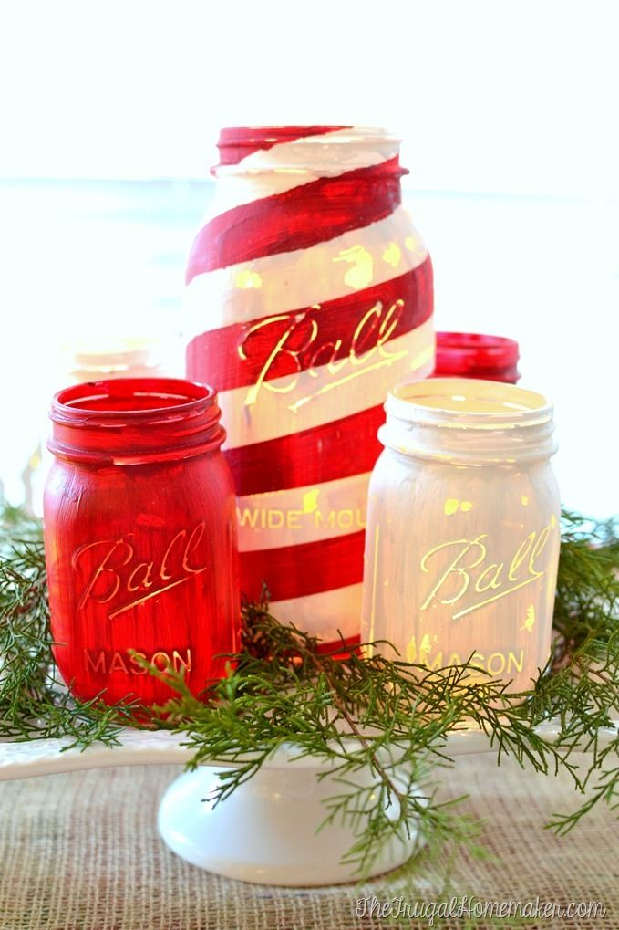 07 - the frugal homemaker - Painted Mason Jars for Christmas, red & white and candy cane painted jars