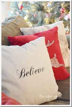 14 - the girl creative - find stencils faith, hope, joy, etc and dab with fabric paint