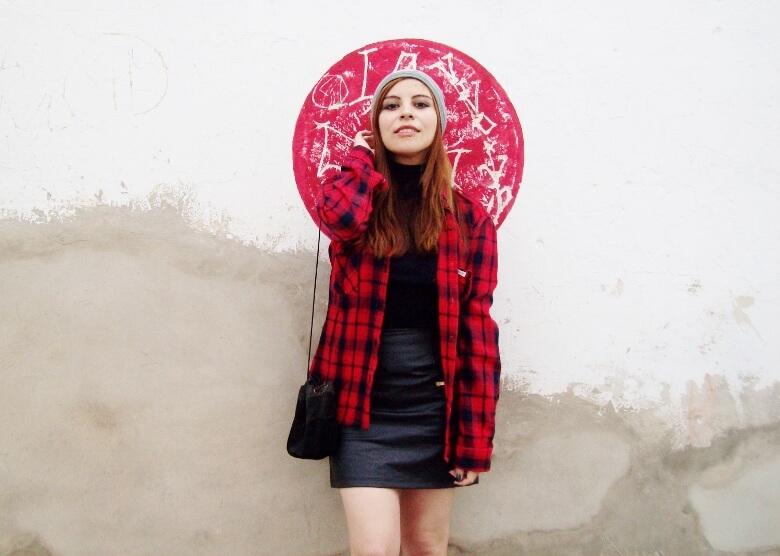 tartan-plaid-shirt-leather-mini-skirt-black-turtleneck-fall2015-ankle-boots03
