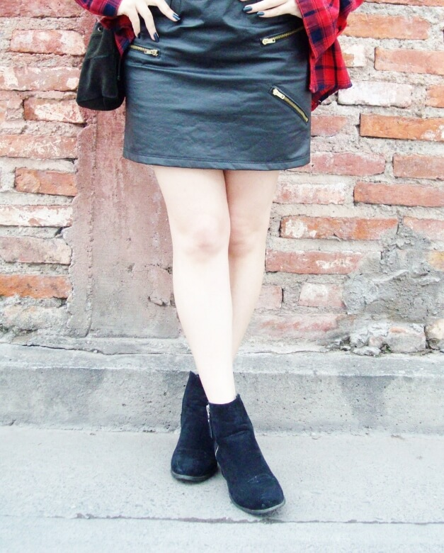 tartan-plaid-shirt-leather-mini-skirt-black-turtleneck-fall2015-ankle-boots05