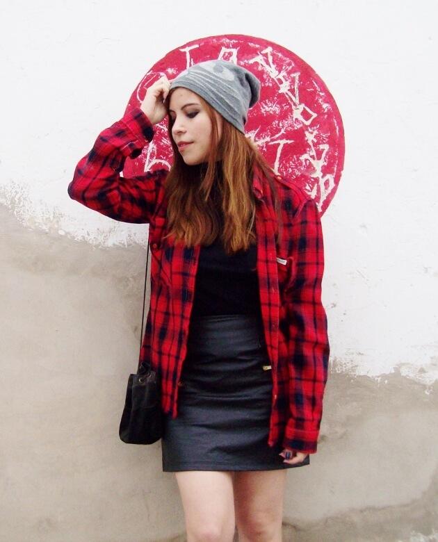 tartan-plaid-shirt-leather-mini-skirt-black-turtleneck-fall2015-ankle-boots07