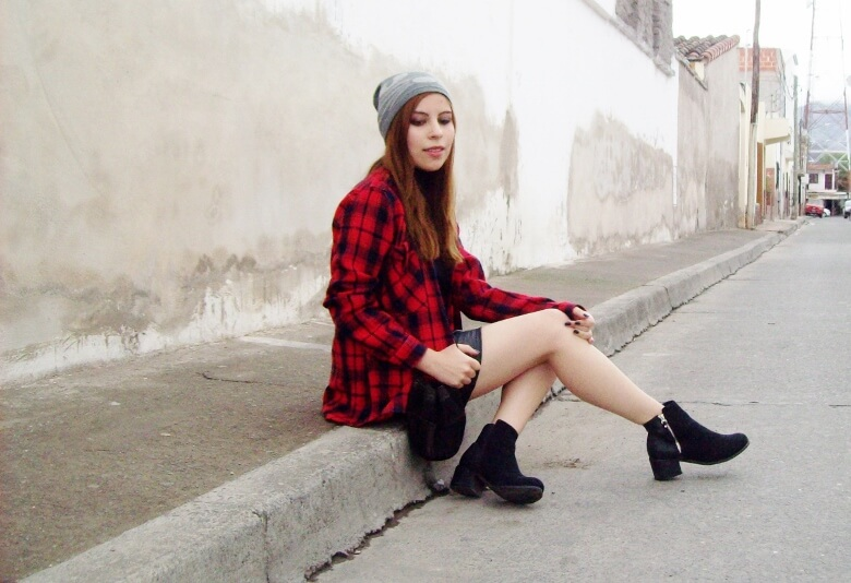 tartan-plaid-shirt-leather-mini-skirt-black-turtleneck-fall2015-ankle-boots11
