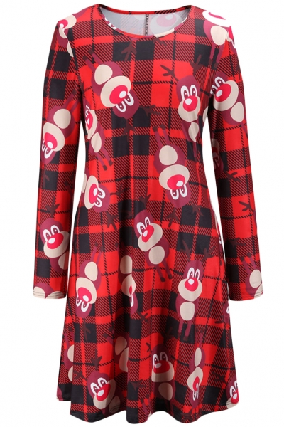 christmas-rudolph-the-red-nosed-reindeer-printing-dress