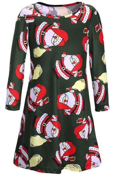 christmas-santa-claus-pattern-round-neck-dress