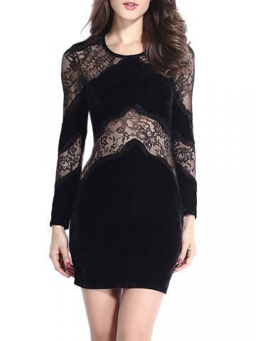Sexy Lace Patchwork Stretch Long Sleeve Black O-neck Dress