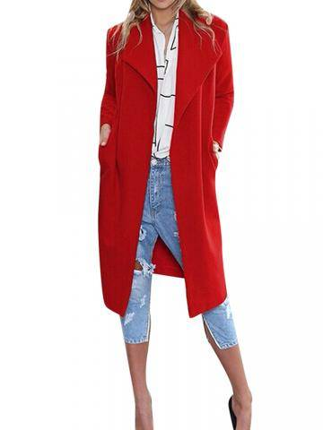 Solid Color Long Design Long Sleeve Slim Blazer