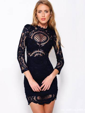 Solid Lace Crochet Hollow Out Splicing Long Sleeve Mini Dress