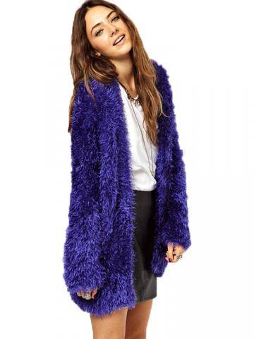 Women Plush Long Sleeve Fluffy Faux Fur Outwear Coat