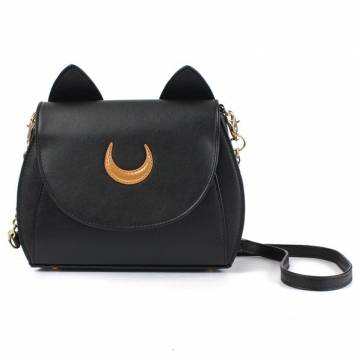 Women Sweet Moon Print Ear Pattern Design Crossbody Bag