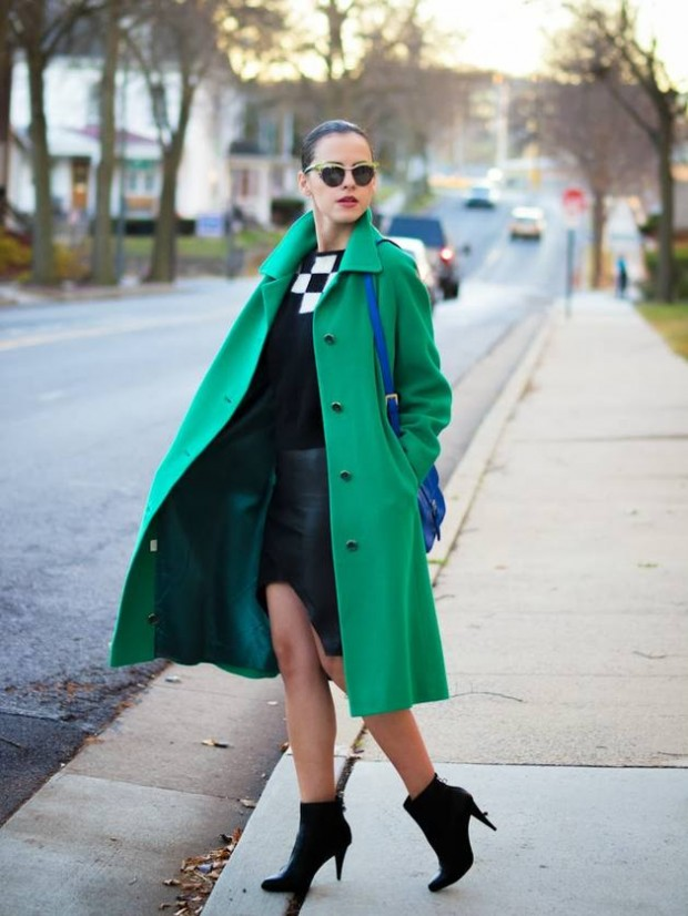 10 - bittersweetcolors - green maxi coat assymetrical hem lbd little black dress high heeled ankle booties st patrciks outfit ideas