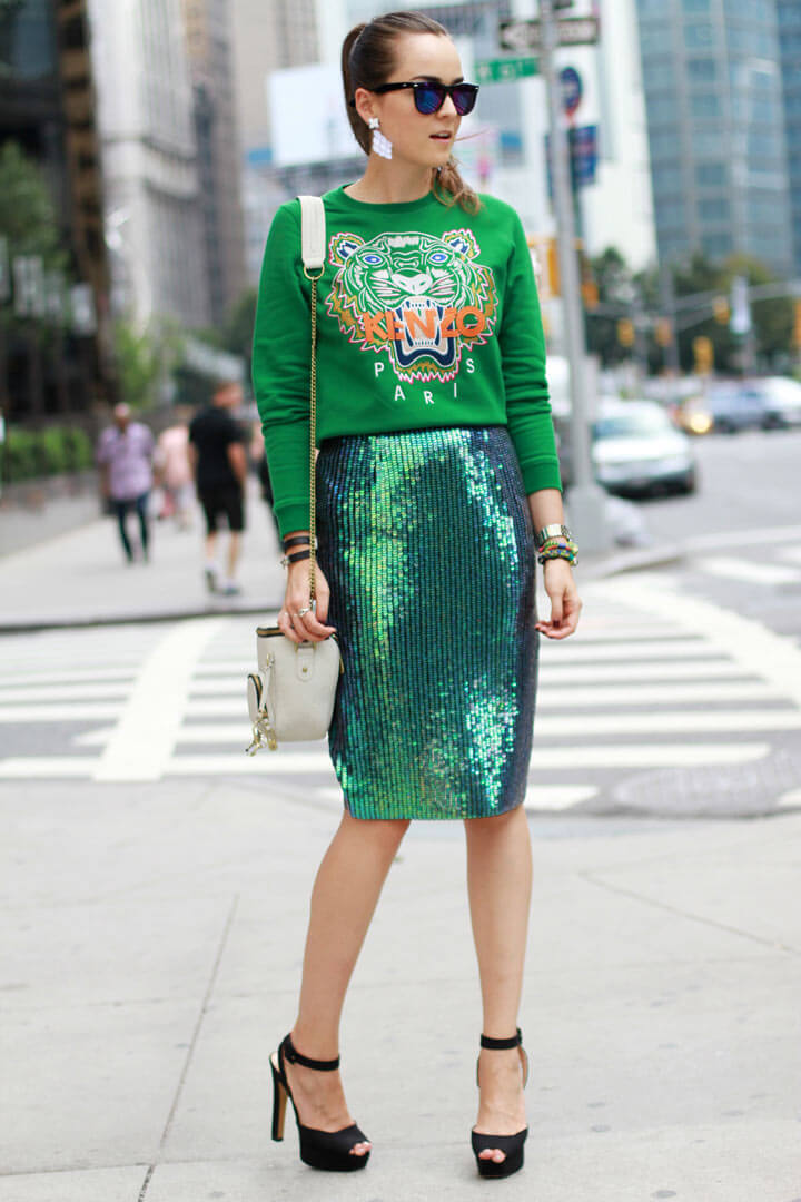 13 - stylescrapbook - kenzo sweatshirt green sequin pencil skirt andy torres streestyle stylish st patricks outfit  ideas