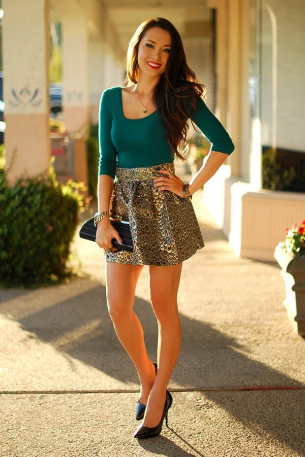14 - hapatime green and gold outfit textured mini skirt femenine st patrcks outfit ideas