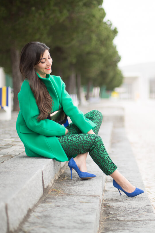 16 - blasfemmes - green coat green patterned pants cobal blue stiletto pumps st patrciks outfit ideas