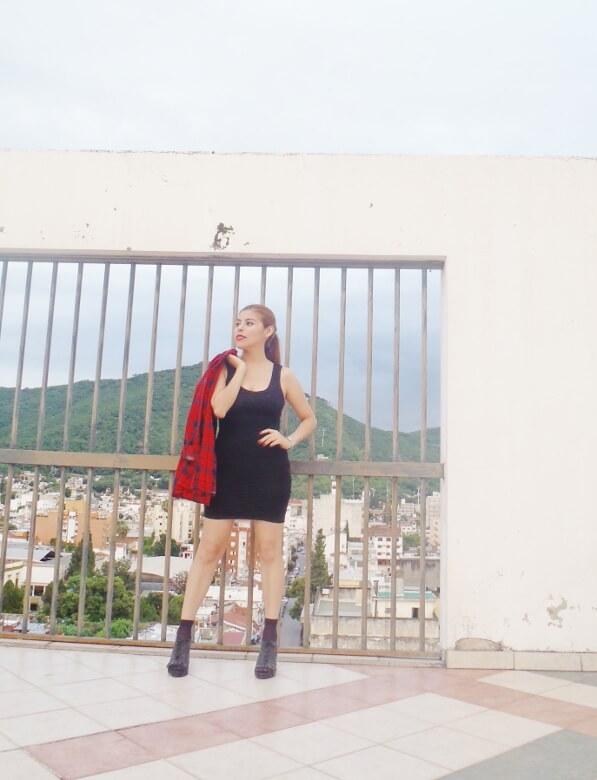 tartan-shirt-grunge-lbd-little-black-dress-shoes and socks - laceup-booties-grungeylook11
