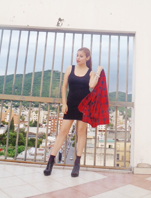 tartan-shirt-grunge-lbd-little-black-dress-shoes and socks - laceup-booties-grungeylook14
