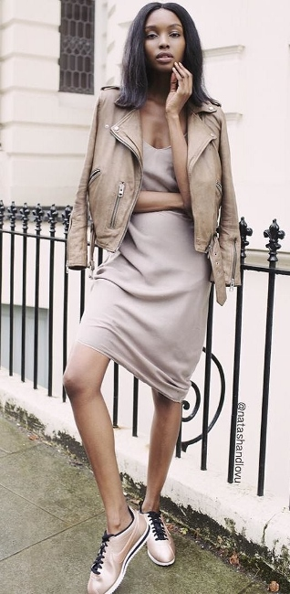 daytime1 - nude slip dress with sneakers and jacket layering sprin summer 2016 trends