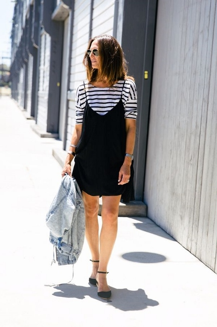 daytime4- striped tishirt and slip dress layering spring summer 2016 trends
