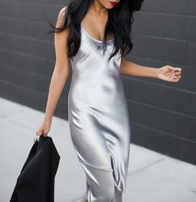 minimal4 - satin metallic slip dress fashion blogger streetstyle how to wear slip dress trend 2016