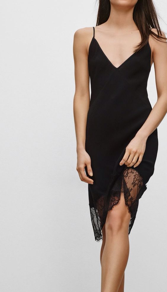 night1 - lbd slip dress with lace details lookbook how to wear slip dress trend 2016