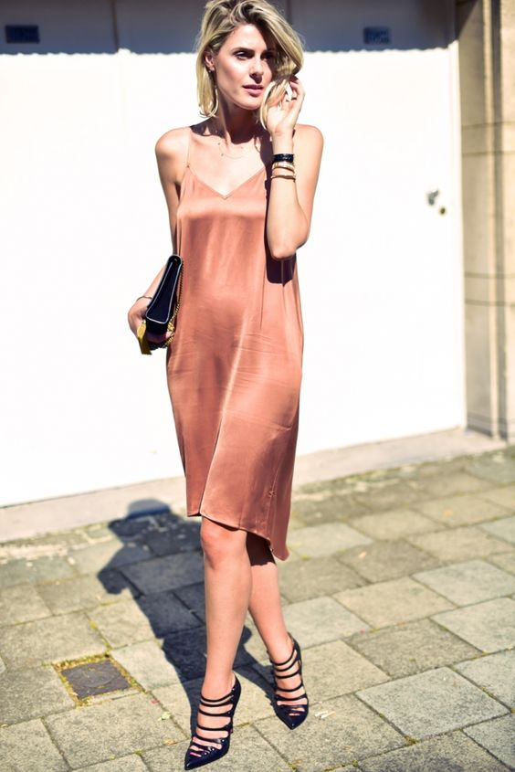 Night3 Pale Pink Satin Slip Dress Streetstyle How To Wear Trend 2016