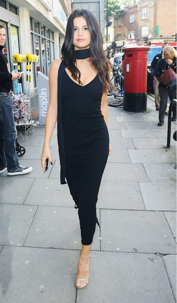 night4 - lbd little black dress selena gomez streetstyle kinny scarf how to wear slip dress trend 2016