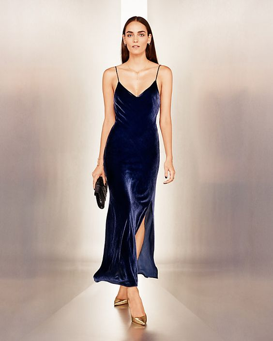 night6 - velvet blue slip dress long gown lookbook how to wear slip dress trend 2016