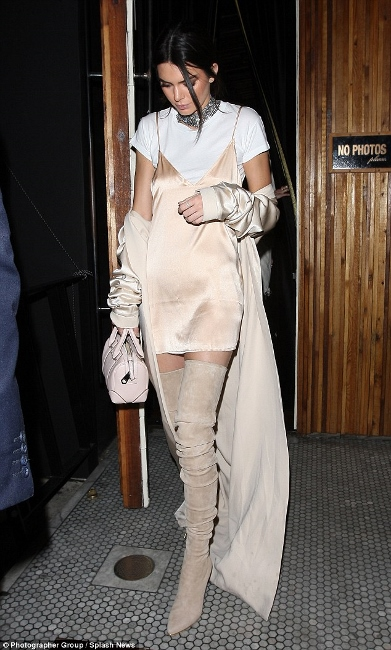 nineties2 - kendall jenner blush slip dress over white tshirt over the knee boots suede streetstyle paparazzi how to wear slip dress trend 2016