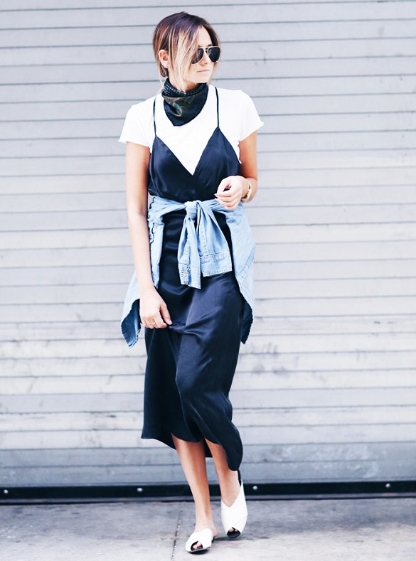 nineties3 - white tshirt black satin slip dress layering skinny scarf fashion blogger streetstyle how to wear slip dress trend 2016