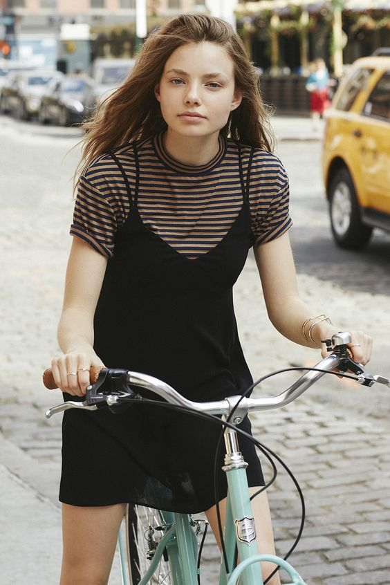 nineties4 - stripey tshirt black slip dress model off duty style lolita streetstyle how to wear slip dress trend 2016
