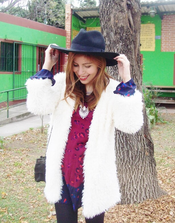 white faux fur coat newchic a line printed dress black tights fringed ankle booties happiness boutique necklace zaful wide trim fedora hat streetstyle deborah ferrero style by deb fall trends07