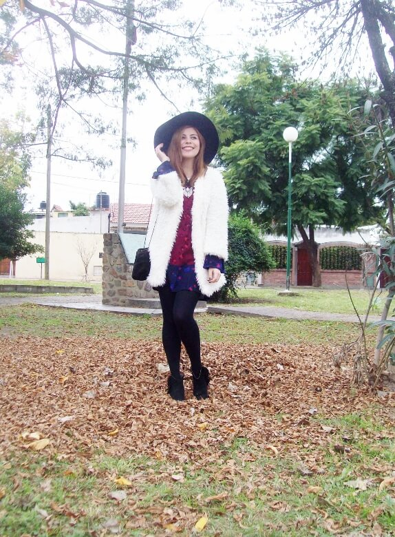 white faux fur coat newchic a line printed dress black tights fringed ankle booties happiness boutique necklace zaful wide trim fedora hat streetstyle deborah ferrero style by deb fall trends08