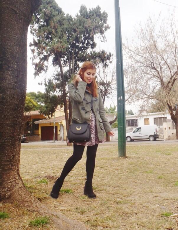 olive green parka animal print skater mini skirt black tights fall winter 2016 trends deborah ferrero style by deb newchic luna cat ear bag04
